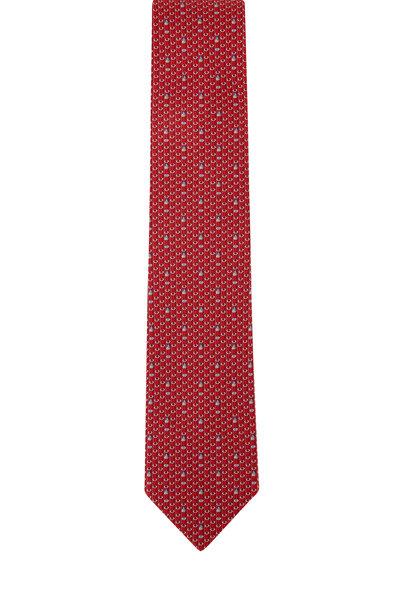 Salvatore Ferragamo - Red Pencil Silk Necktie