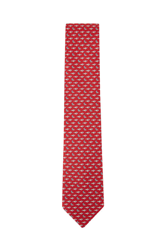 Salvatore Ferragamo Red Airplane Silk Necktie