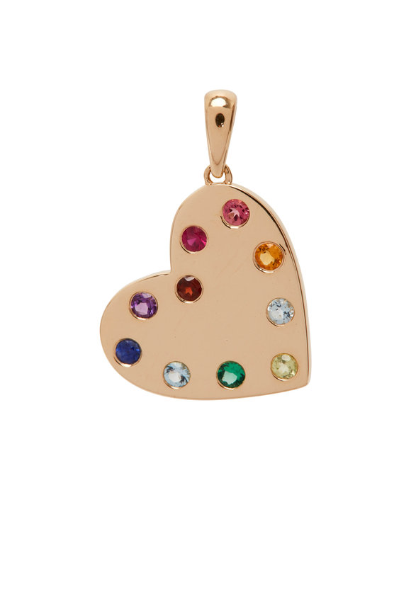 My Story Jewel 14K Yellow Gold Rainbow Heart Pendant