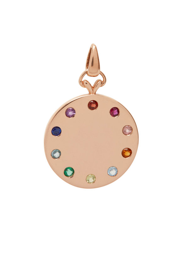 My Story Jewel 14K Rose Gold Rainbow Disc Pendant
