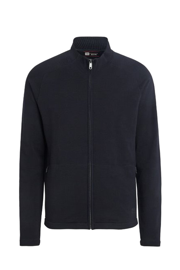 Z Zegna Navy Blue Techmerino Zip-Front Sweatshirt