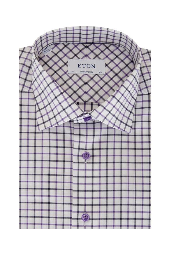 Eton Purple & Blue Tattersall Contemporary Dress Shirt