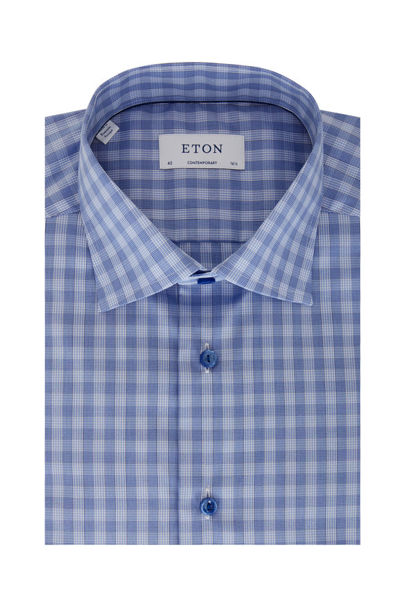 Eton Medium Blue Contemporary Fit Sport Shirt