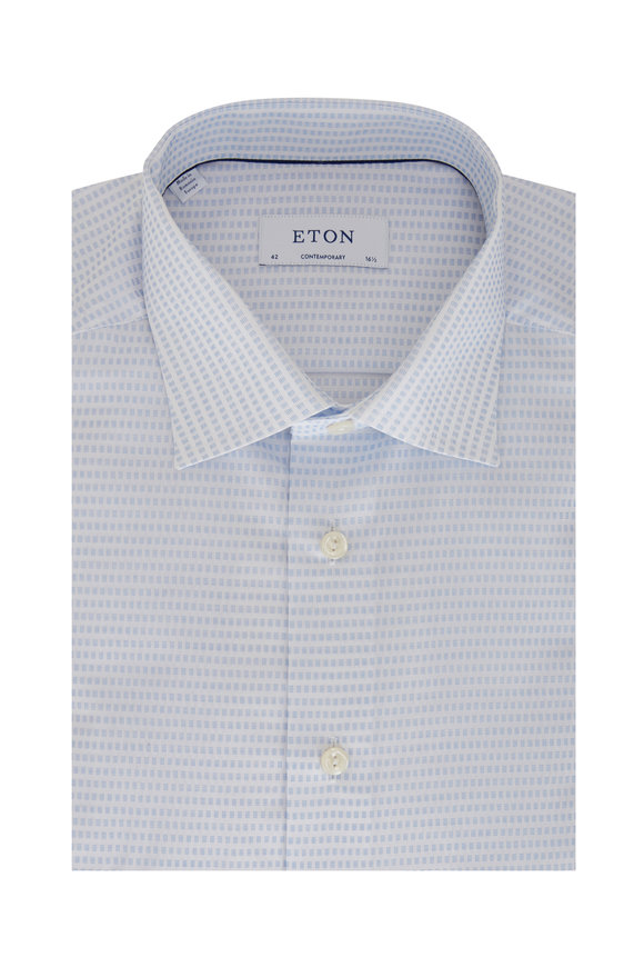 Eton Light Blue Square Contemporary Fit Dress Shirt