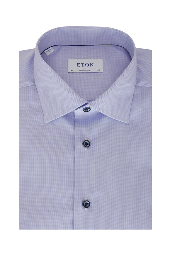 Eton Blue Fine Striped Contemporary Fit Dress Shirt