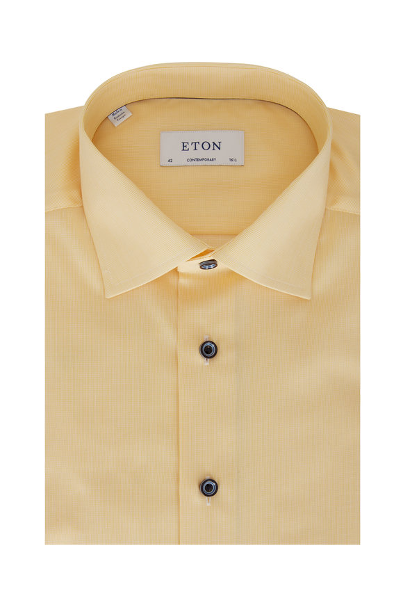 Eton Yellow Fine Striped Contemporary Fit Dress Shirt