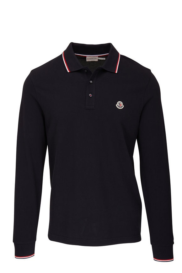 Moncler Navy Long Sleeve Piqué Logo Polo