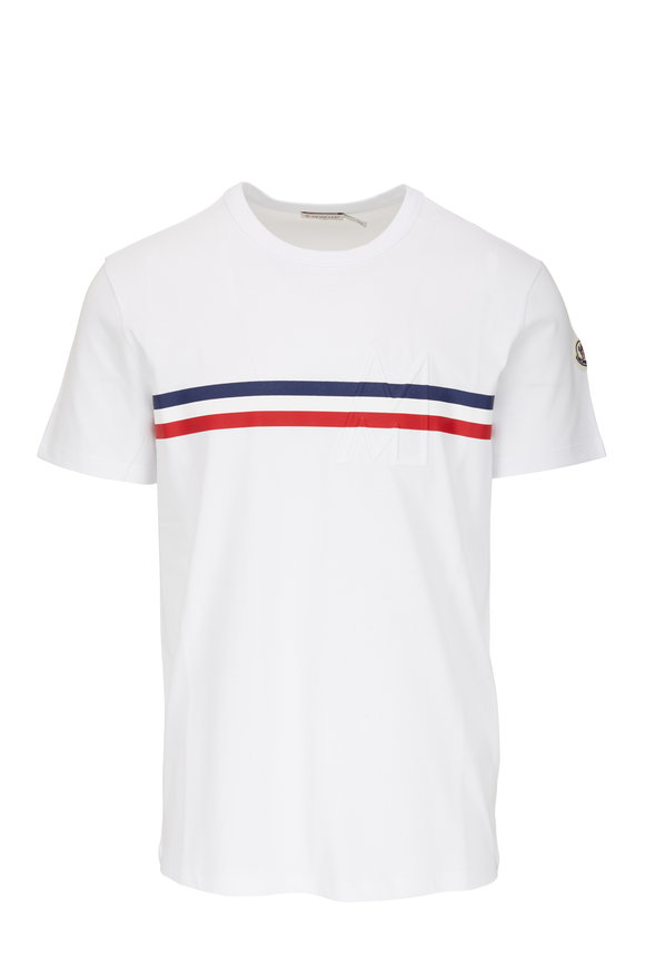 Moncler White Stripe Graphic T-Shirt