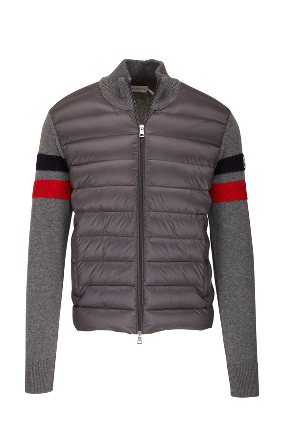 Moncler Gray Quilted Front Zip Up Sweater