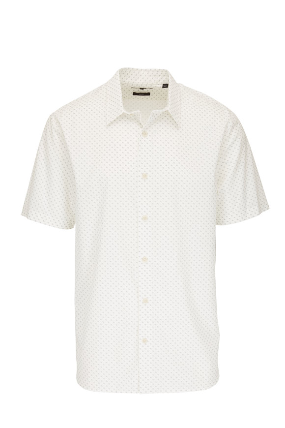 Vince White Geometric Slim Fit Short Sleeve Sport Shirt