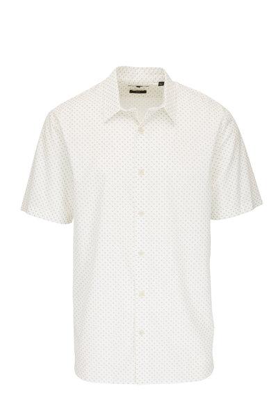 Vince - White Geometric Slim Fit Short Sleeve Sport Shirt