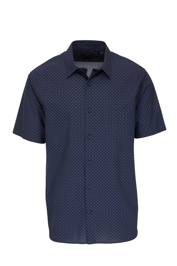 Vince Navy Geometric Short Sleeve Slim Fit Sport Shirt