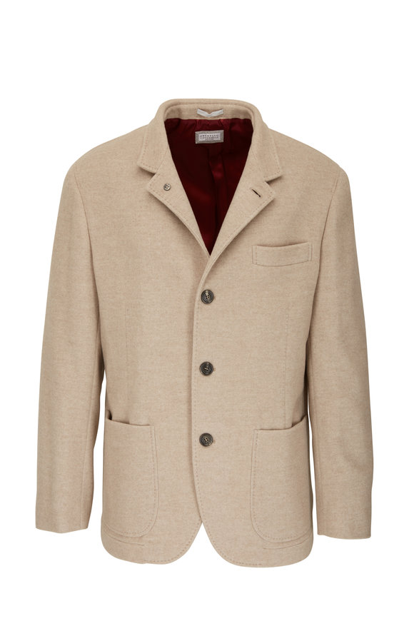 Brunello Cucinelli Natural Cashmere Water Repellent Blazer