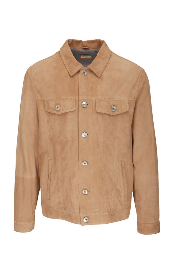 Brunello Cucinelli Tan Suede Button Down Western Jacket