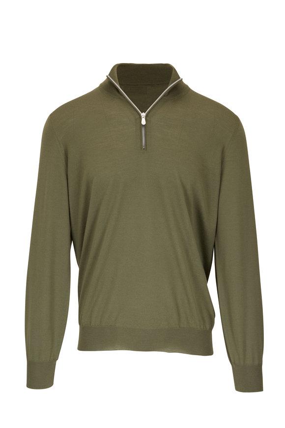 Brunello Cucinelli Olive Wool & Cashmere Quarter-Zip Pullover