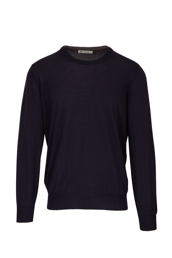 Brunello Cucinelli Midnight Cashmere & Silk Crewneck Sweater
