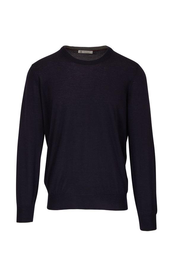 Brunello Cucinelli Midnight Cashmere & Silk Crewneck Sweater