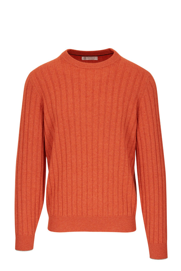 Brunello Cucinelli Orange Ribbed Crewneck Sweater