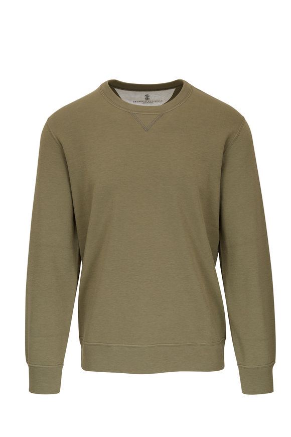 Brunello Cucinelli Olive Stretch Cotton Crewneck Sweatshirt