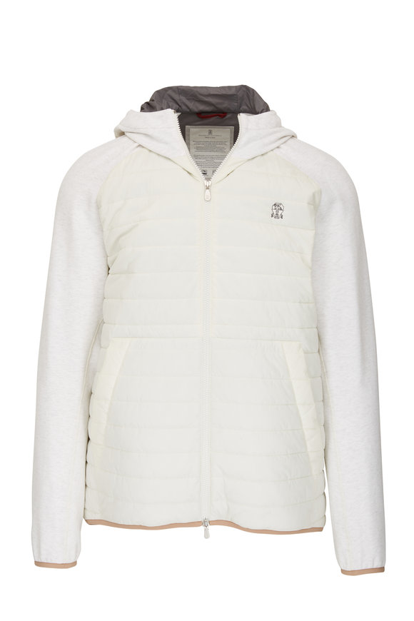 Brunello Cucinelli White Quilted Front Zip Hooded Jacket