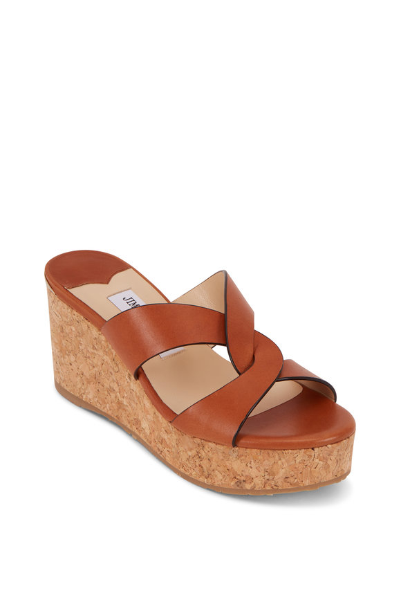 Jimmy Choo Atia Cuoio Leather Cork Wedge Slide Sandal, 75mm