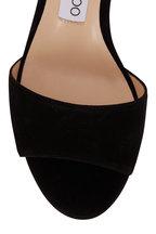 Jimmy Choo - Stacey Black Suede Open Toe Sandal Mule, 65mm