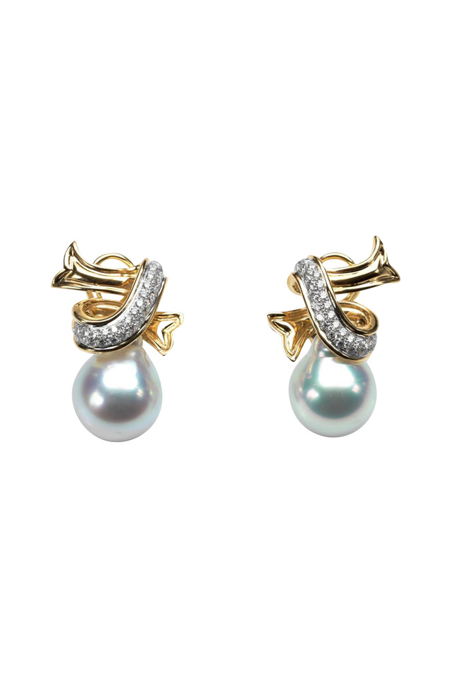 Gold Silver South Sea Pearl Ribbon Earrings