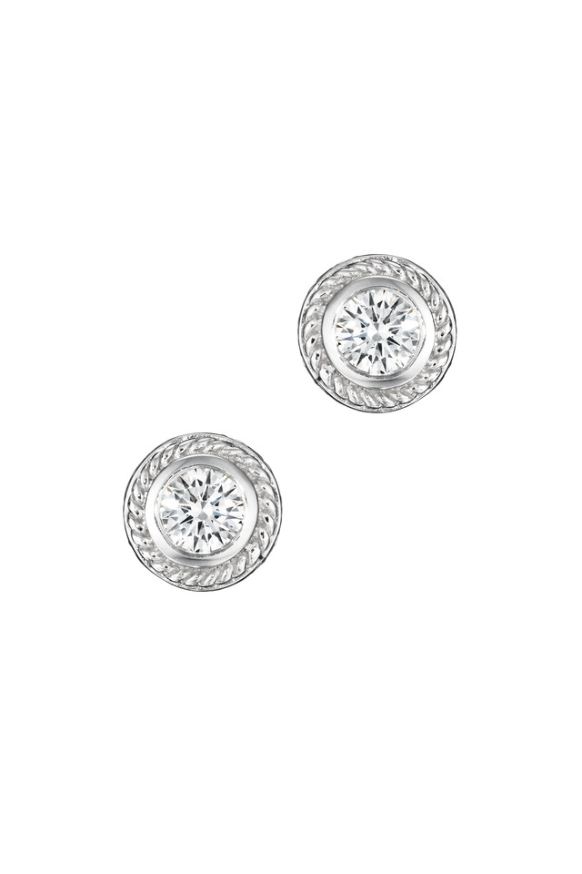 White Gold Twisted Bezel Diamond Stud Earrings