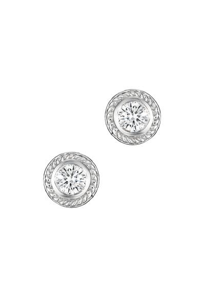 Penny Preville - White Gold Twisted Bezel Diamond Stud Earrings