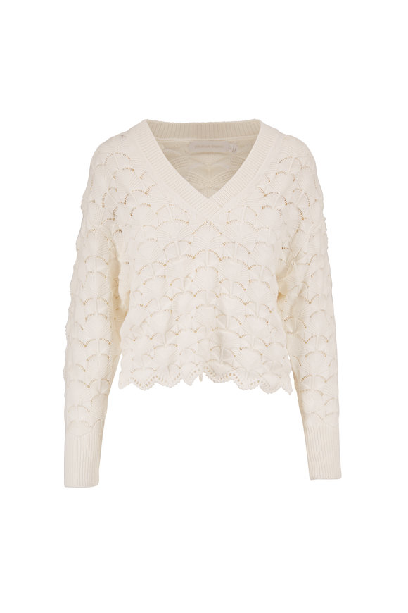 Jonathan Simkhai Gracelyn White Cotton Lace Hem Sweater