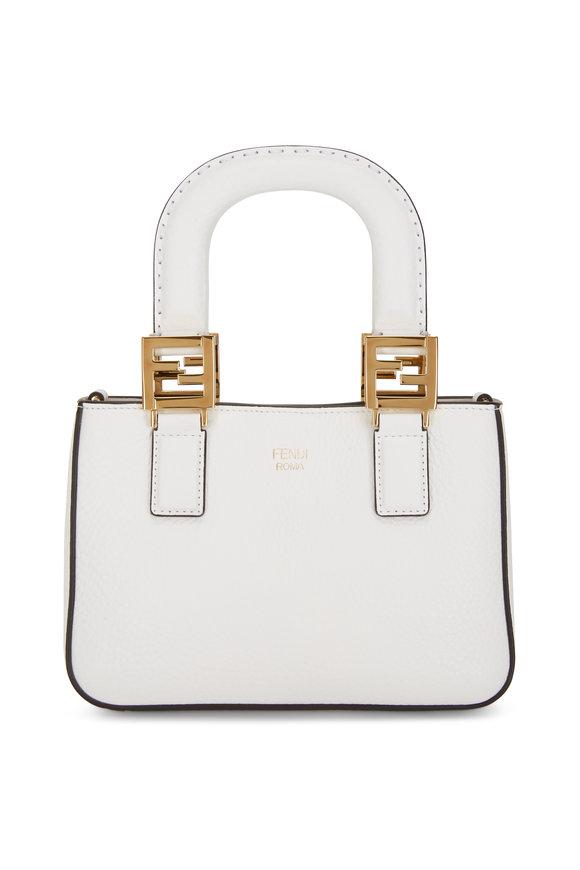 Fendi White Grained Leather Mini FF Tote Bag