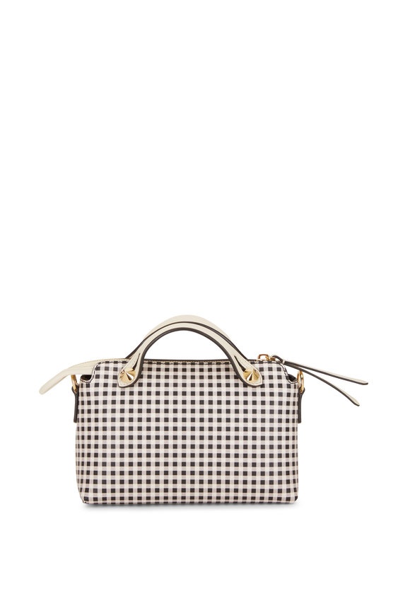 Fendi By The Way Mini Black & White Check Boston Bag