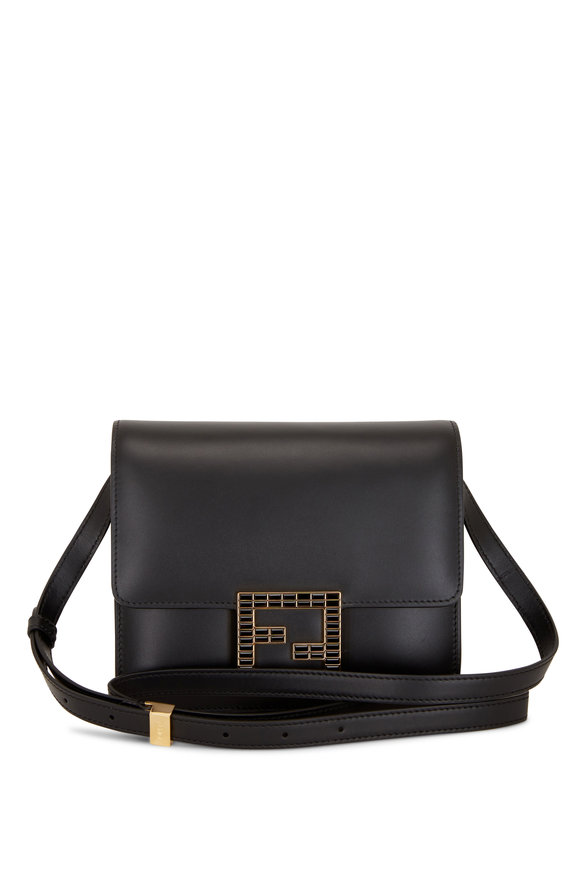 Fendi Fab Black Leather Crossbody Bag