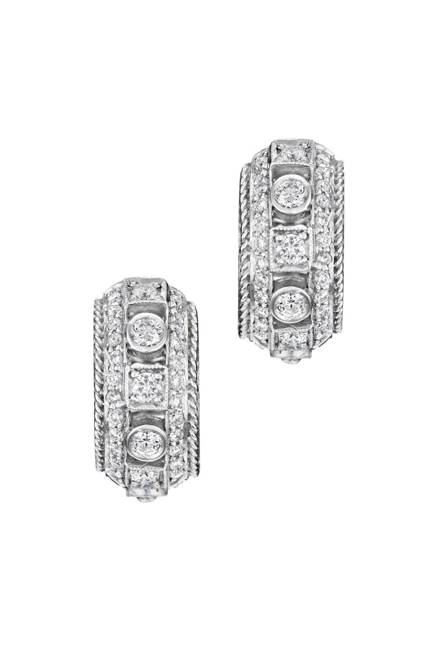 White Gold White Diamond Huggie Earrings