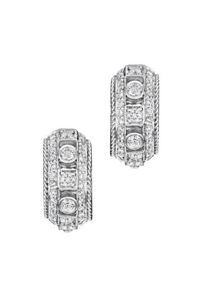Penny Preville - White Gold White Diamond Huggie Earrings