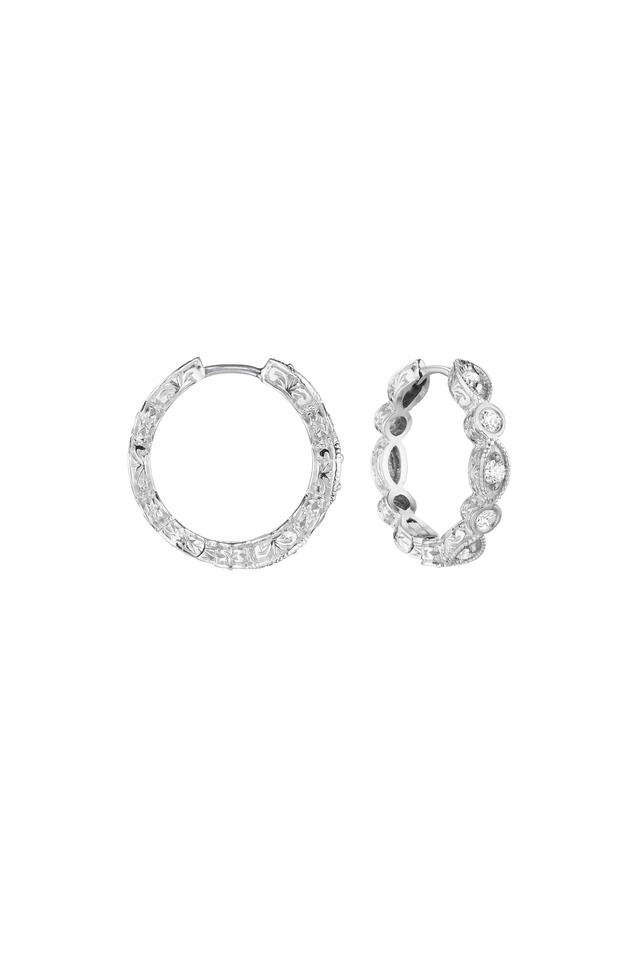 White Gold White Diamond Hoop Earrings
