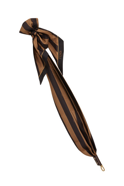 Fendi - Black & Brown Striped Silk Bow Strap