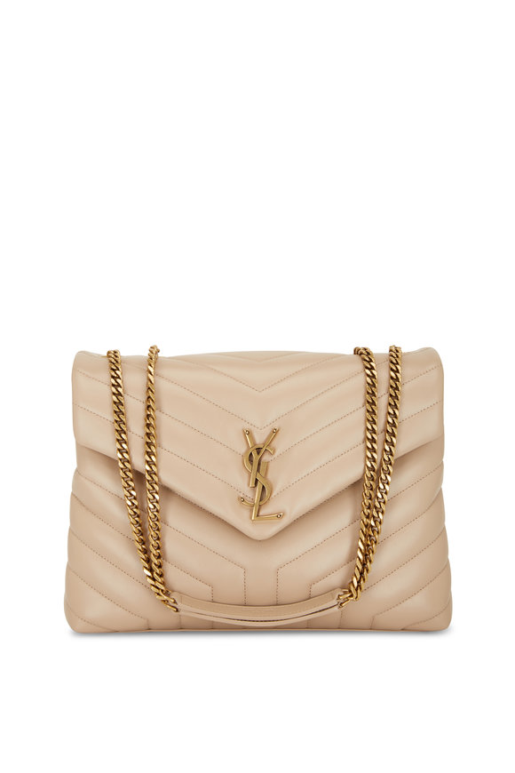 Saint Laurent Loulou Monogram Dark Beige Quilted Shoulder Bag