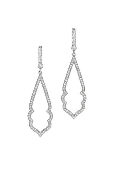 Penny Preville - White Gold White Diamond Arabesque Earrings