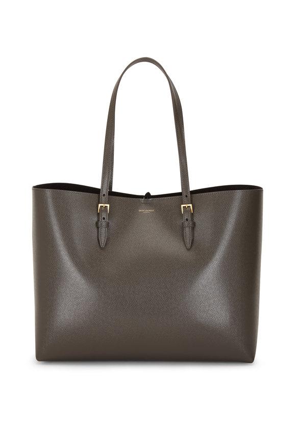 Saint Laurent Dark Grey Vintage Leather Large Shopping Tote