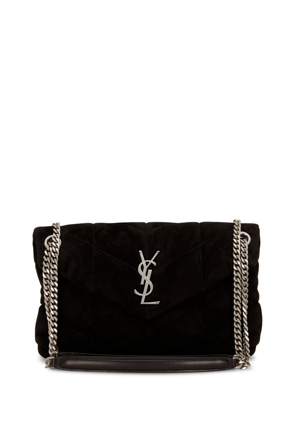Saint Laurent Loulou Black Quilted Suede Puffer Small Bag