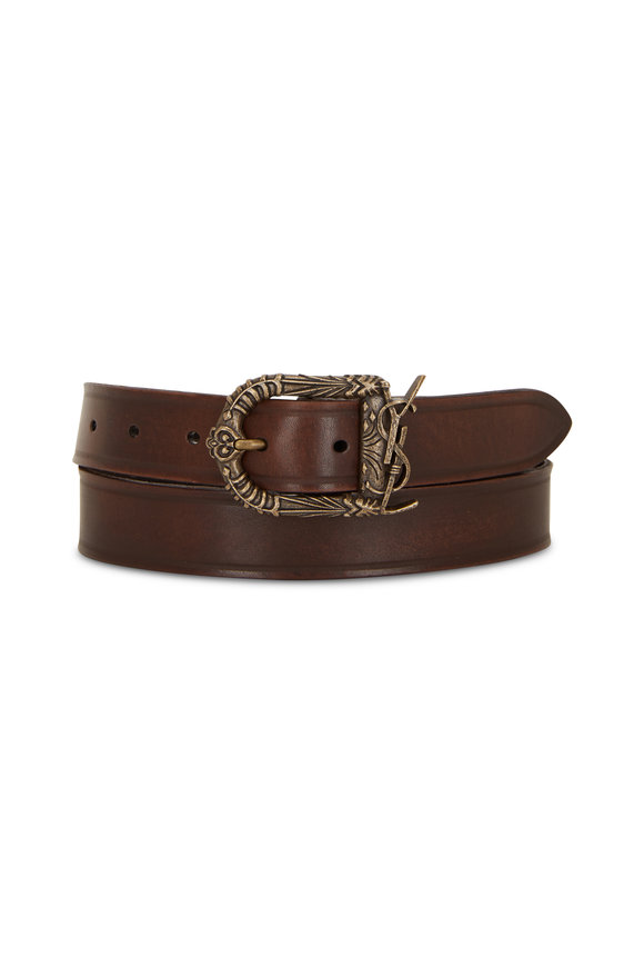 Saint Laurent Nutmeg Leather YSL Belt