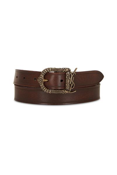 Saint Laurent - Nutmeg Leather YSL Belt