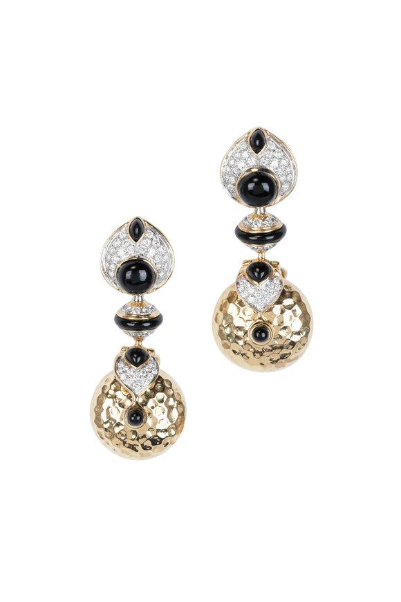 Marina B 18K Yellow Gold Pneu Diamond & Black Jade Earrings