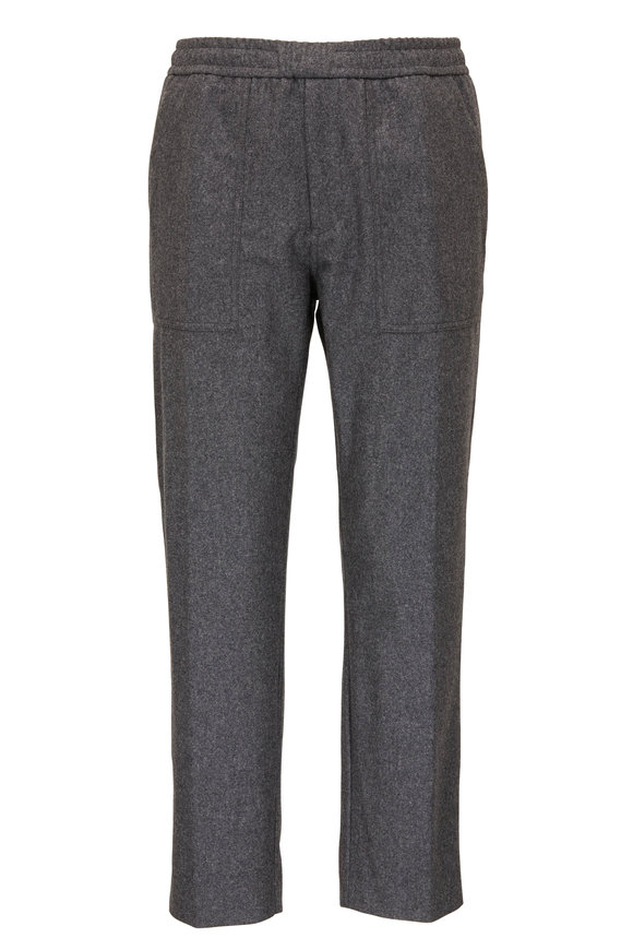 Moncler Gray Drawstring Wool Pant