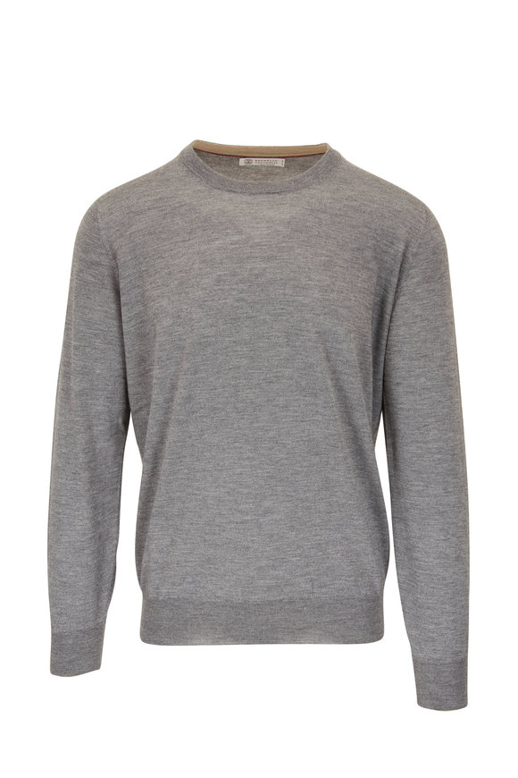 Brunello Cucinelli Gray Cashmere & Silk Crewneck Sweater