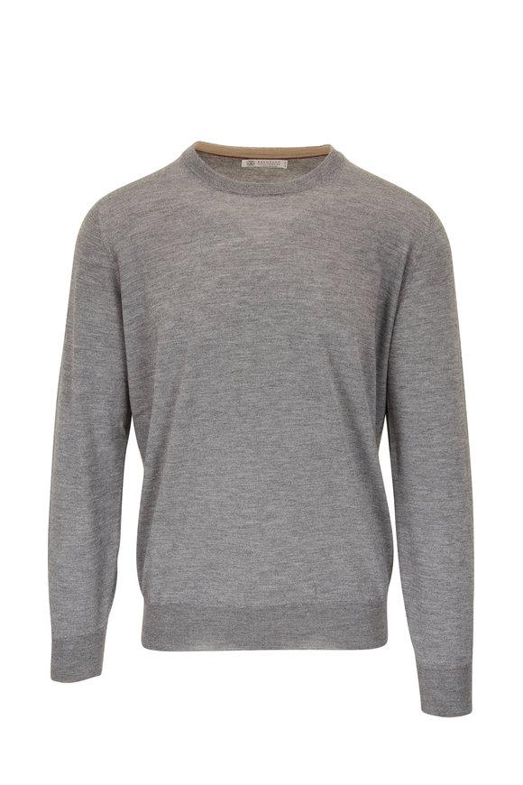 Brunello Cucinelli Gray Cashmere & Silk Crewneck Sweater
