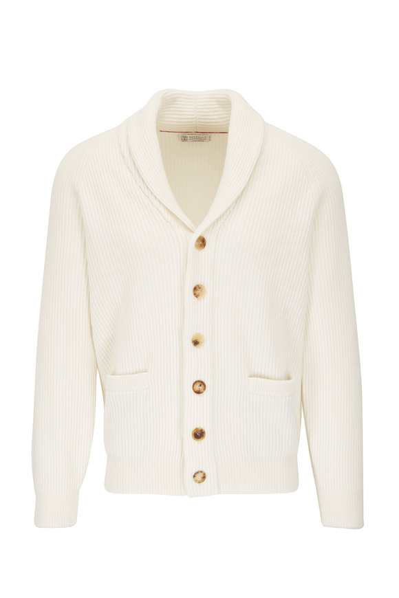 Brunello Cucinelli Off White Cashmere Shawl Cardigan
