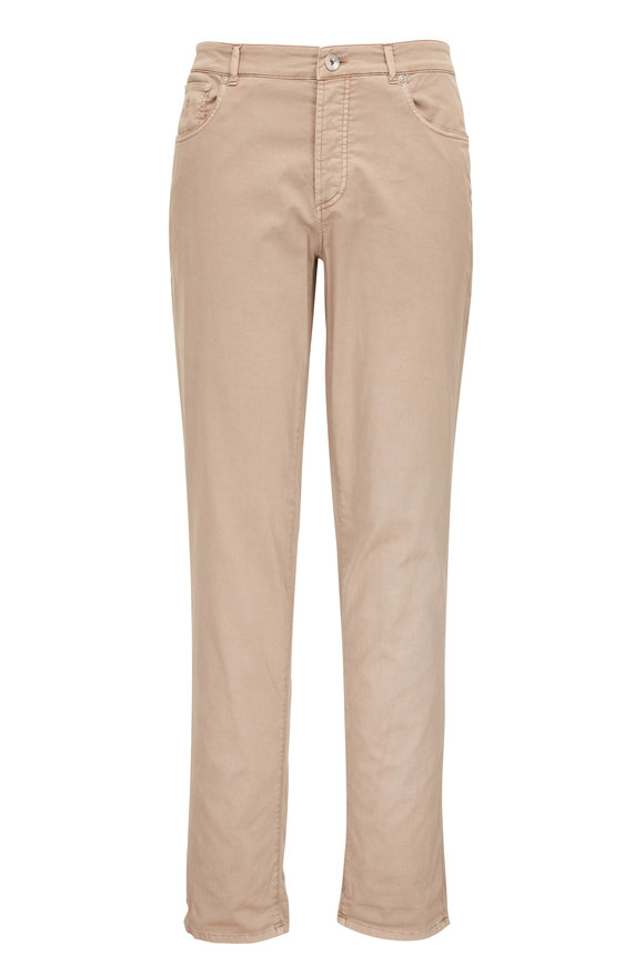 Brunello Cucinelli Taupe Cotton Twill Five Pocket Pant