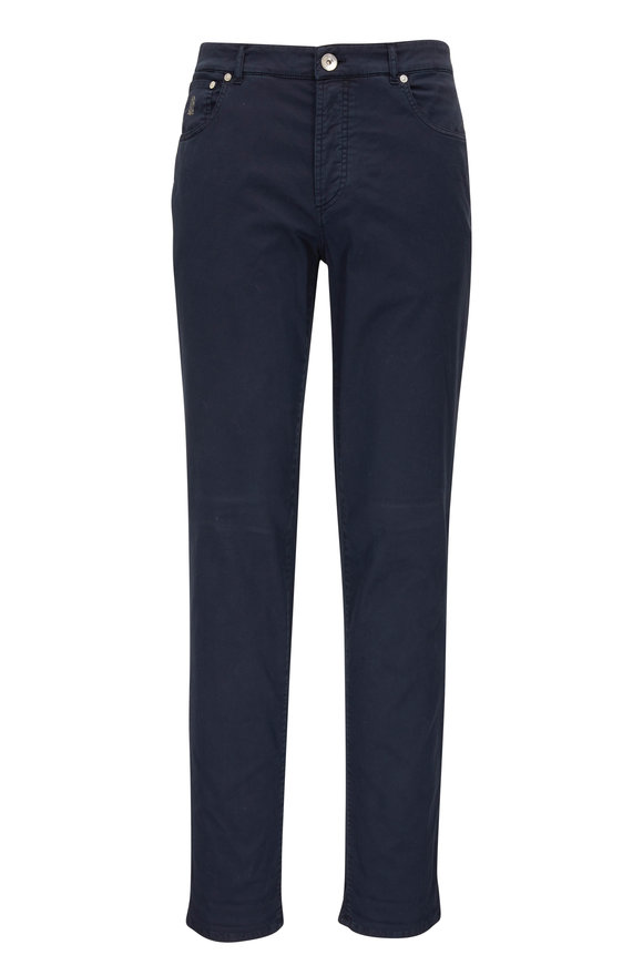 Brunello Cucinelli Navy Blue Cotton Twill Five Pocket Pant